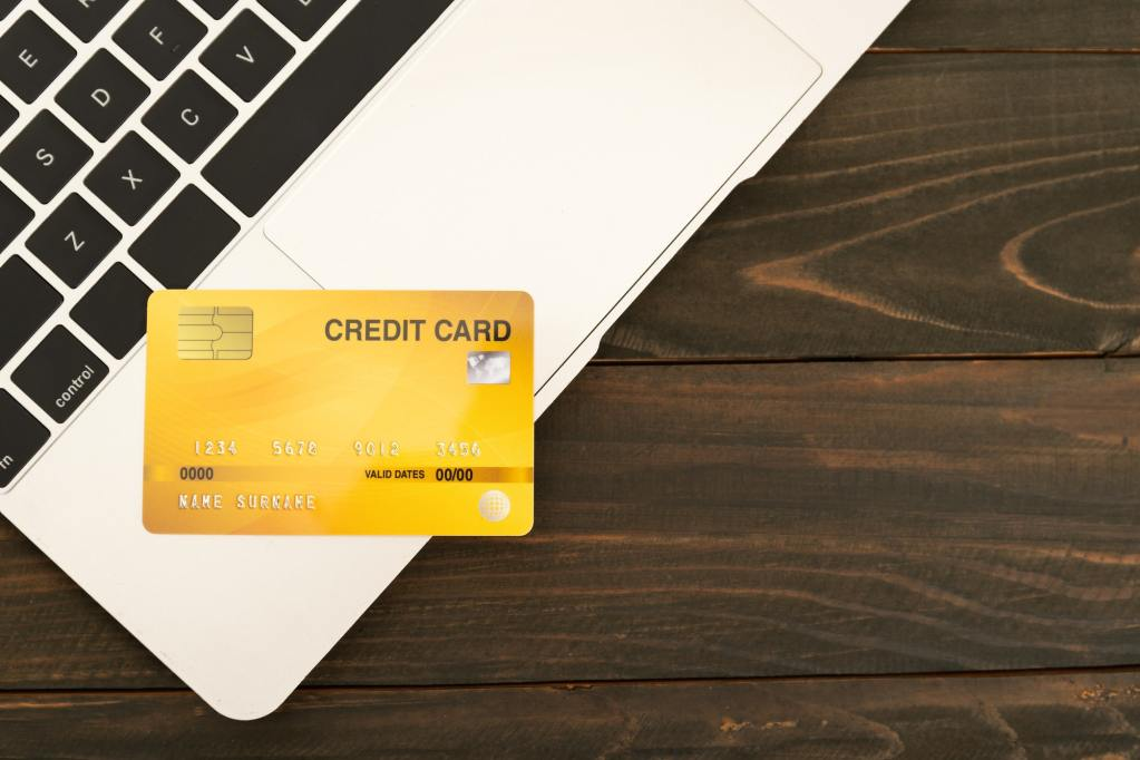 Credit card on a laptop keyboard_